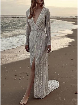 Sequins Long Sleeves Sheath Maxi Party/Elegant Dresses