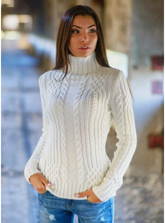 Cotton Blends Turtleneck Plain Sweater