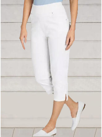 Solid Capris Casual Pants