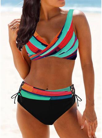 High Waist Splice color Strap V-Neck Sexy Vintage Bikinis Swimsuits