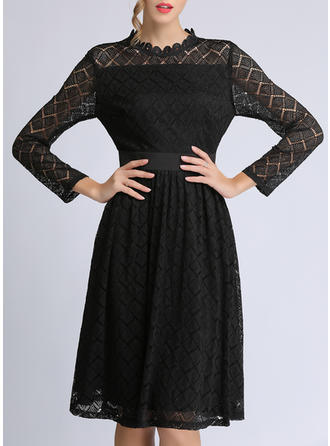 Lace/Solid Long Sleeves A-line Knee Length Little Black/Party/Elegant Dresses