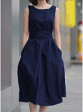 Solidny Okrągły Dekolt Midi Sukienka Trapezowa