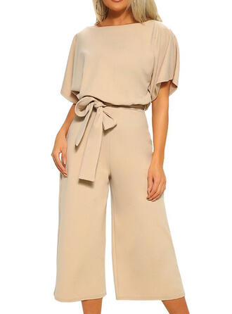 Solid Round Neck Short Sleeves Casual Elegant Jumpsuit