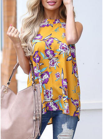 Chiffon Stand-up Collar Floral Sleeveless Casual Blouses