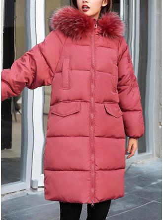 Poliester Bawełna Długie rękawy Jednolity kolor Szerokie Płaszcze