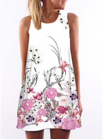 Print Floral Round Neck Above Knee Shift Dress