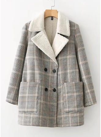 Polyester Long Sleeves Houndstooth Shearling Coats