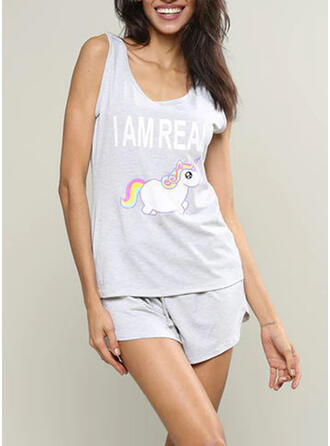 Gola Redonda Sem mangas Impressão Casual Top & Short Sets Vestido de noite