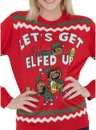 Women's Polyester Print Letter Cartoon Ugly Christmas Sweater
