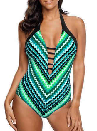 Stripe Halter Sexy One-piece Swimsuits