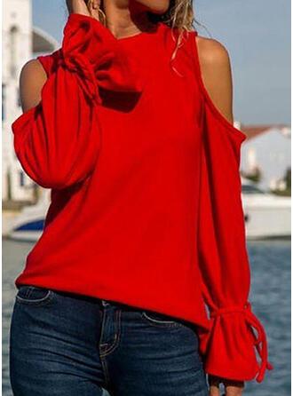 Einfarbig Kalte Schulter Schlagärmel Lange Ärmel Freizeit T-shirts