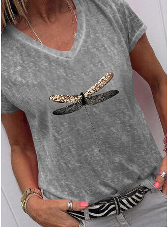 Animal Print Sequins V-Neck Short Sleeves T-shirts