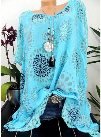 Polyester Round Neck Print Short Sleeves Shirt Blouses