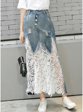 Lace Denim Lace Mid-Calf Demin Skirts