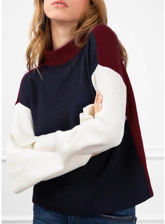 Poliester Wycięcie pod szyją Jednolity kolor Blok Kolorów Swetry