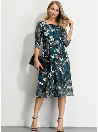 Print 3/4 Sleeves A-line Midi Party/Elegant Dresses