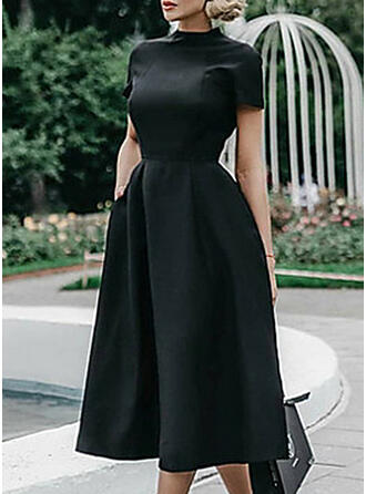 Solid Short Sleeves A-line Little Black/Casual/Elegant Midi Dresses