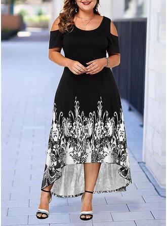 Print Cold Shoulder Sleeve A-line Asymmetrical Casual/Plus Size Dresses