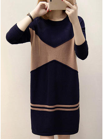 Cotton Blends Polyester Round Neck Color Block Sweater Dress