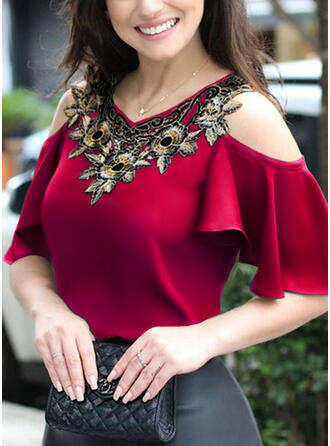 Print Floral Cold Shoulder 1/2 Sleeves Casual Elegant Blouses