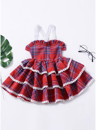 Mädchen Spaghetti-Träger Plaid Lässige Kleidung Niedlich Kleid