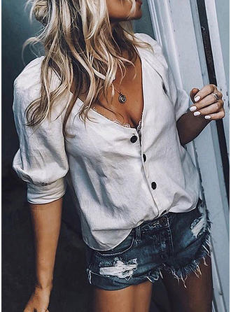 Solid V Neck Long Sleeves Button Up Casual Sexy Shirt Blouses