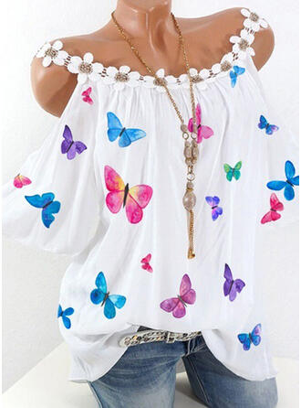 Print Floral Animal Print Cold Shoulder 3/4 Sleeves Casual Blouses