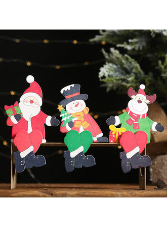 Monigote de nieve Reno Papa Noel De madera Decoración navideña Diy Craft