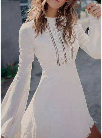 Lace/Solid Long Sleeves A-line Above Knee Casual Dresses