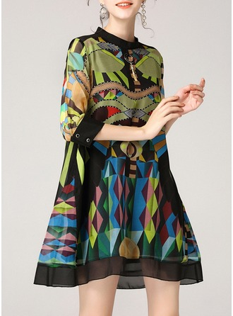 Silk With Print Above Knee Dress