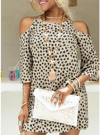 Print/Leopard 3/4 Sleeves/Cold Shoulder Sleeve Shift Above Knee Casual Dresses