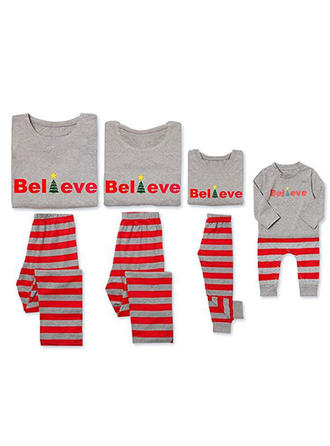 Letter Striped Tenue Familiale Assortie Pyjamas
