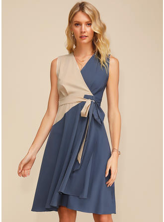 Color block Sleeveless A-line Knee Length Casual/Elegant Dresses