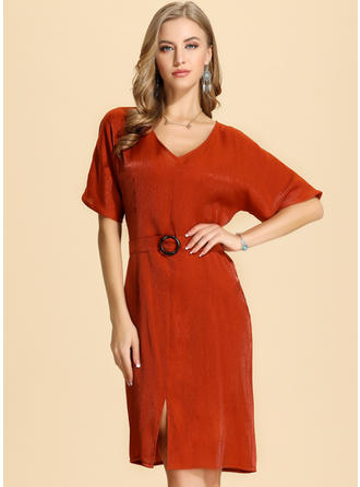 Solid 1/2 Sleeves Sheath Knee Length Casual/Elegant Dresses