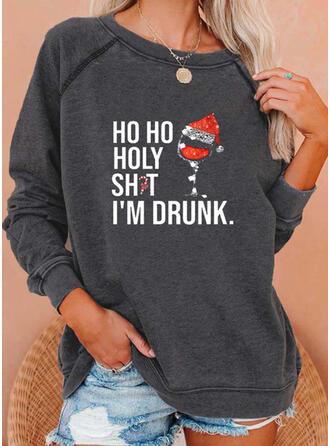 Print pailletten Figuur Ronde nek Lange Mouwen Kerst Sweatshirt