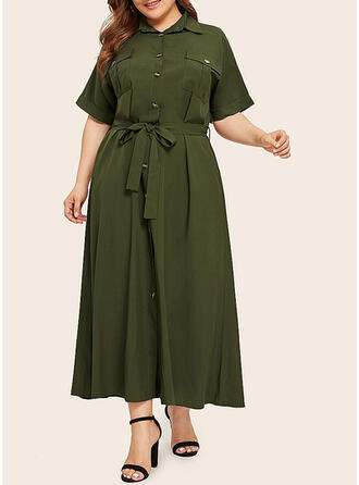 Solid 1/2 Sleeves A-line Casual/Elegant/Plus Size Maxi Dresses
