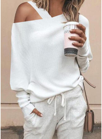 Solid One Shoulder Sweaters
