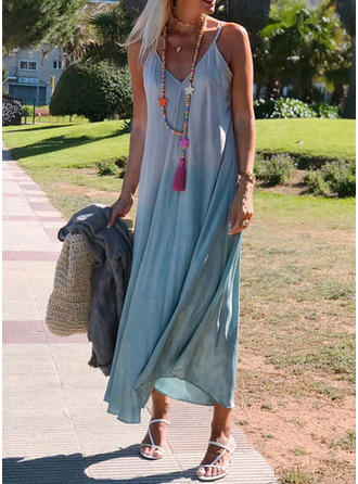 Solid Sleeveless Shift Maxi Casual Dresses