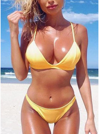 Solid Color Low Waist Sexy Bikinis Swimsuits