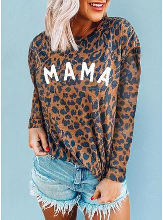 Leopard Druck Buchstaben Rundhalsausschnitt Lange Ärmel T-Shirts