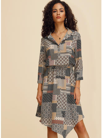 Print/Patchwork 3/4 Sleeves A-line Knee Length Casual Dresses