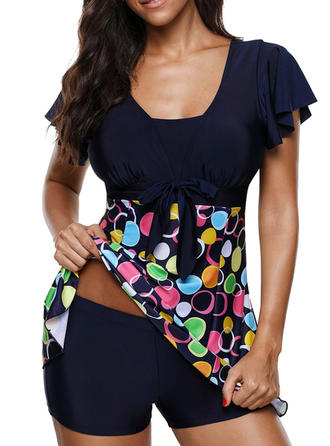 Dot U Neck Elegant Swimdresses Swimsuits