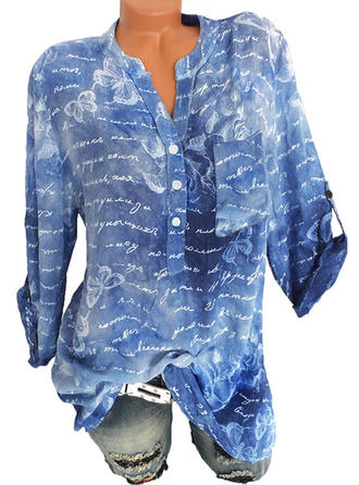 Cotton Blends V Neck Print 3/4 Sleeves Casual Blouses