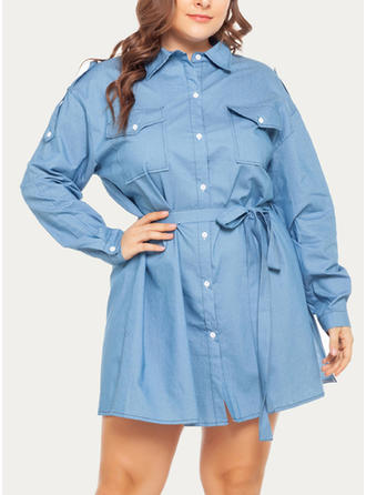 Solid 1/2 Sleeves/Long Sleeves A-line Above Knee Casual Dresses