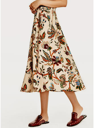 Cotton Linen Print Mid-Calf A-Line Skirts