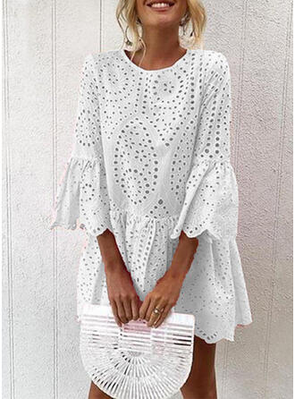 Solid 3/4 Sleeves/Flare Sleeves Shift Above Knee Casual/Vacation Dresses