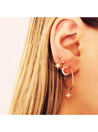Exotic Charming Alloy Crystal With Star Moon Earrings (4 pieces)