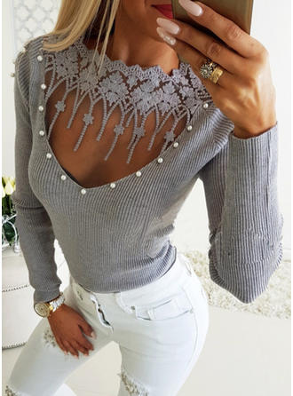 Solid Lace V-Neck Long Sleeves Casual Sexy Knit Blouses
