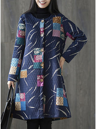 Cotton Blends Long Sleeves Print Color Block Wide-Waisted Coats