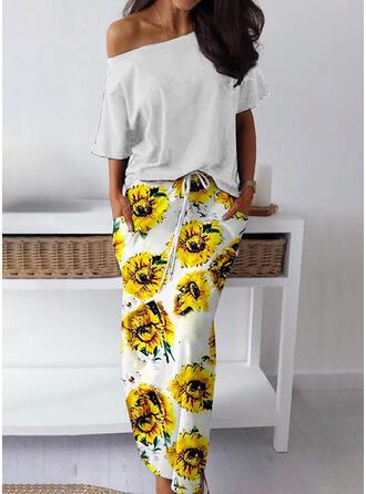 Print 1/2 Sleeves Sheath Casual Maxi Dresses